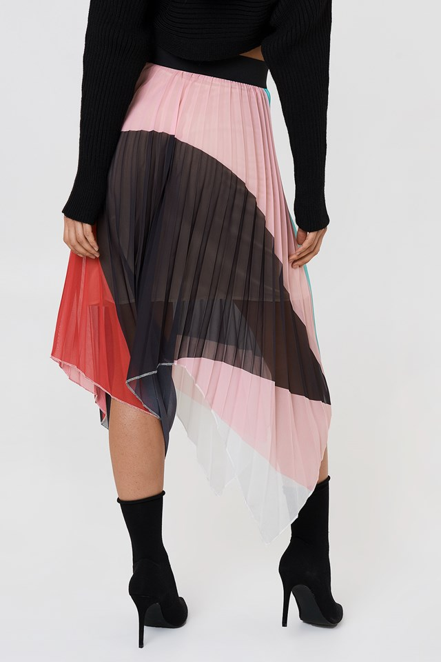 Asymmetric Midi Skirt Powder Pink