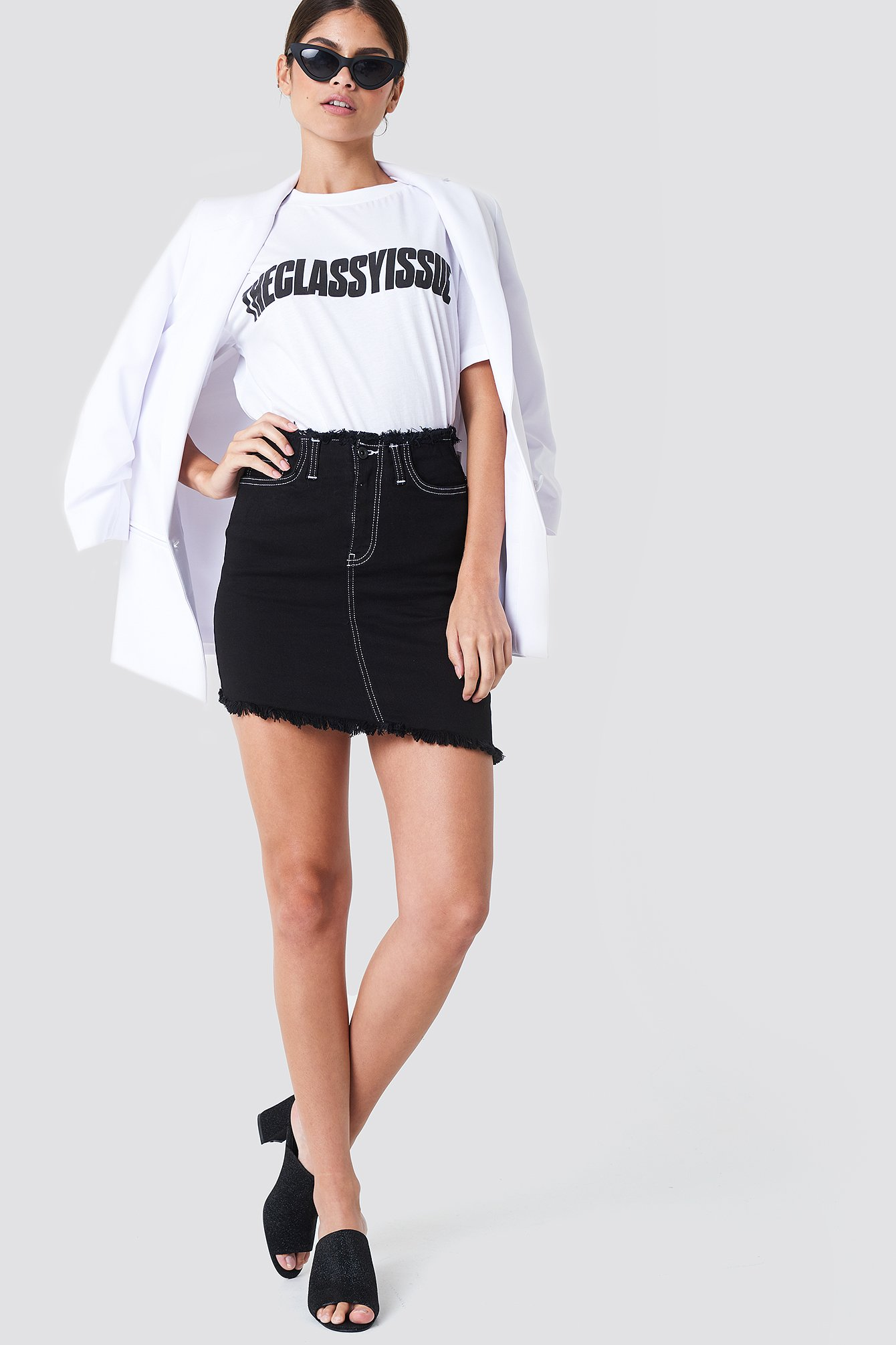 Asymmetrical Cutted Denim Skirt NA-KD.COM