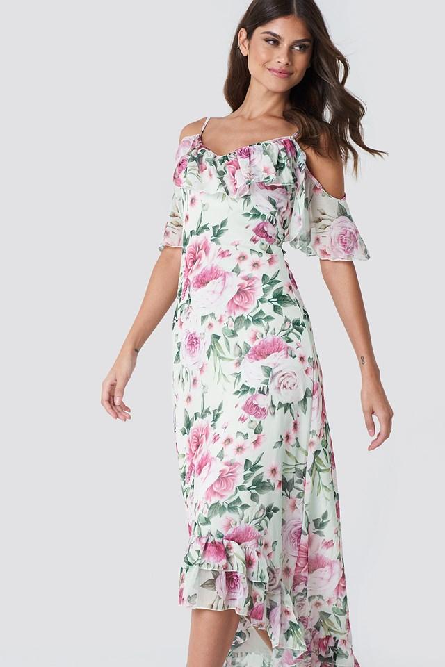 Asymmetric Floral Maxi Dress NA-KD.COM