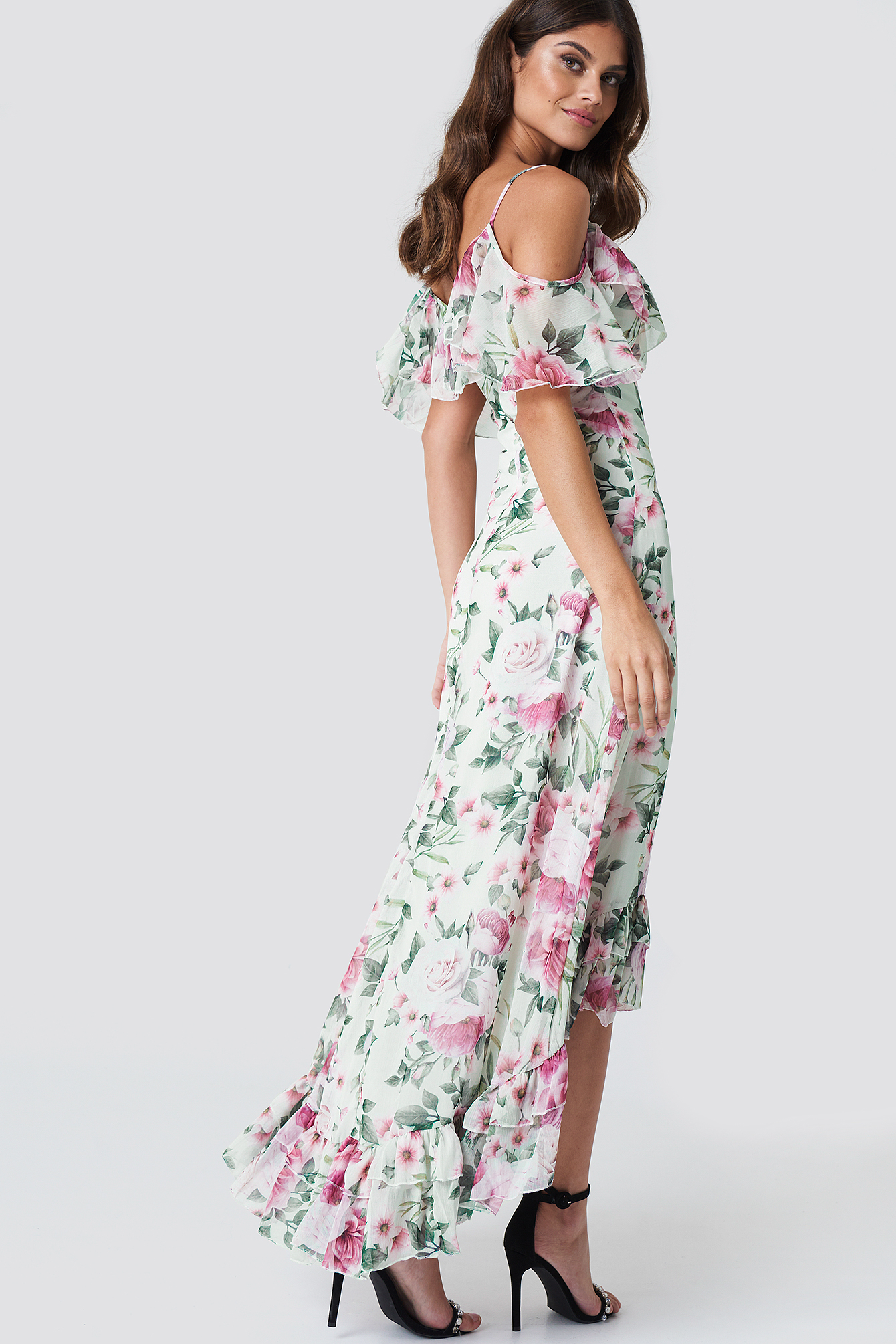 Asymmetric Floral Maxi Dress NA-KD.COM