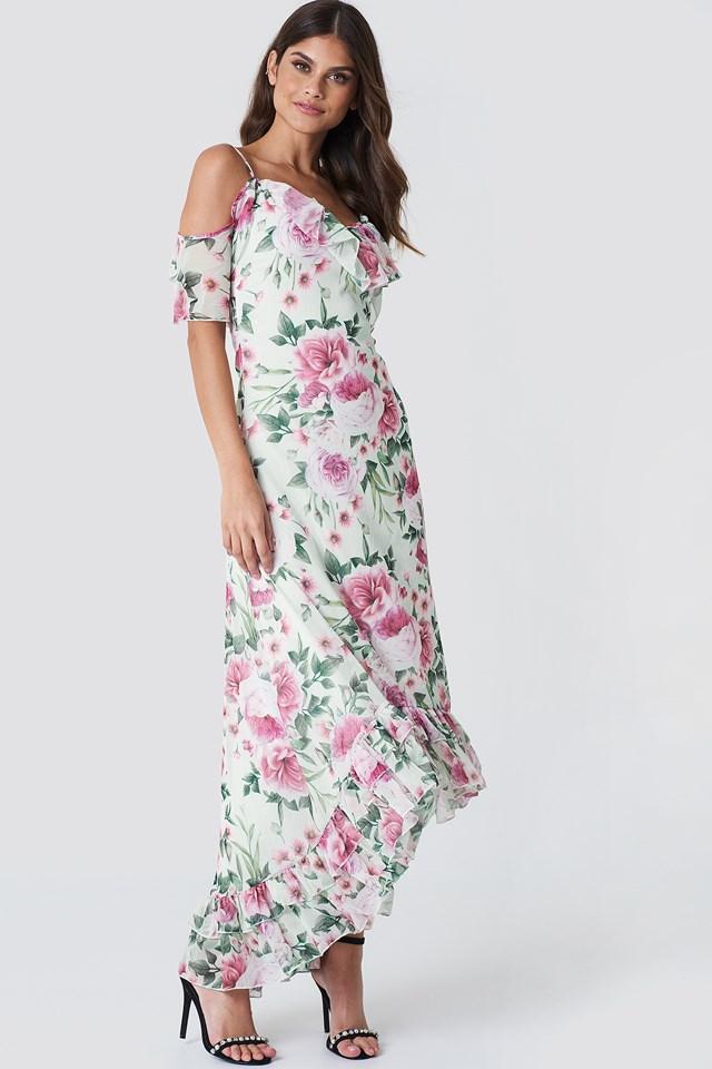 Asymetryczna sukienka maxi w kwiaty NA-KD.COM