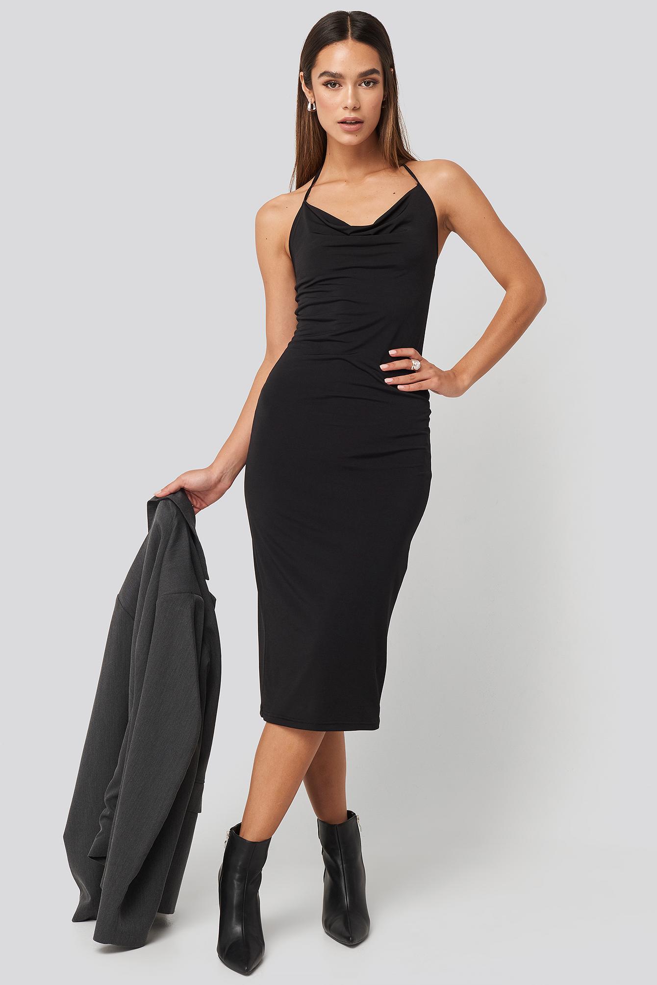 trendyol -  Back Slit Midi Dress - Black