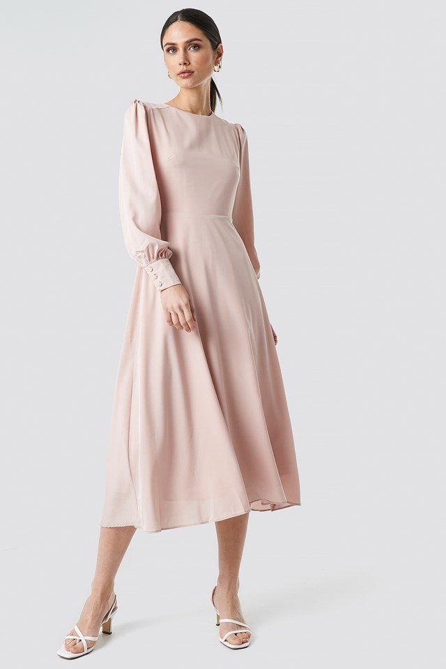 Ballon Sleeve Long Dress Somon
