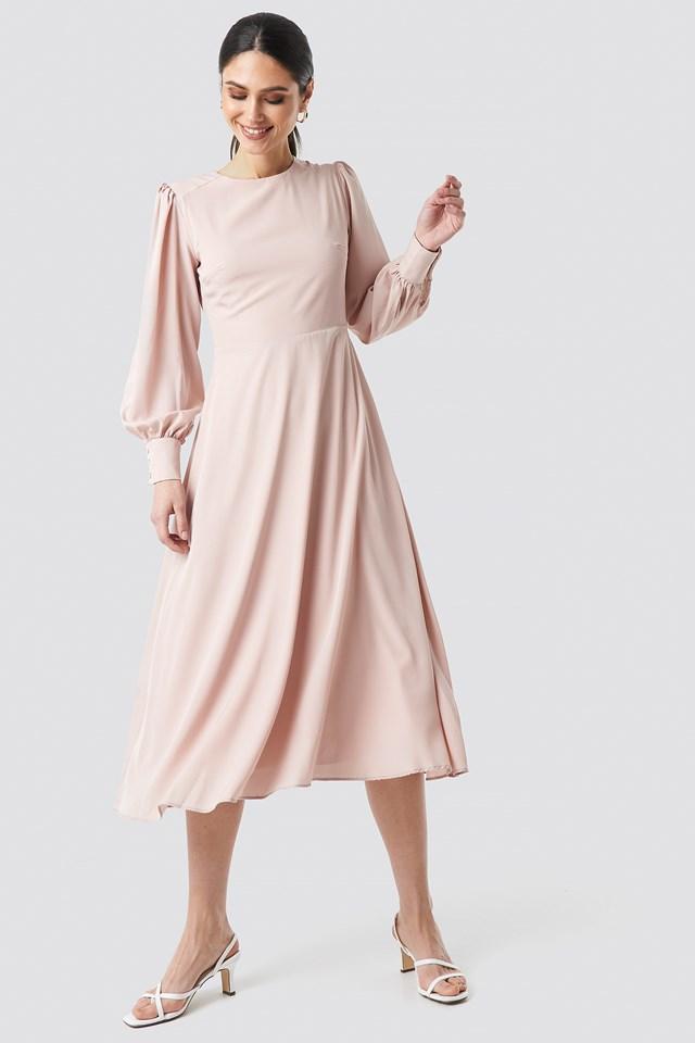 Ballon Sleeve Long Dress Somon