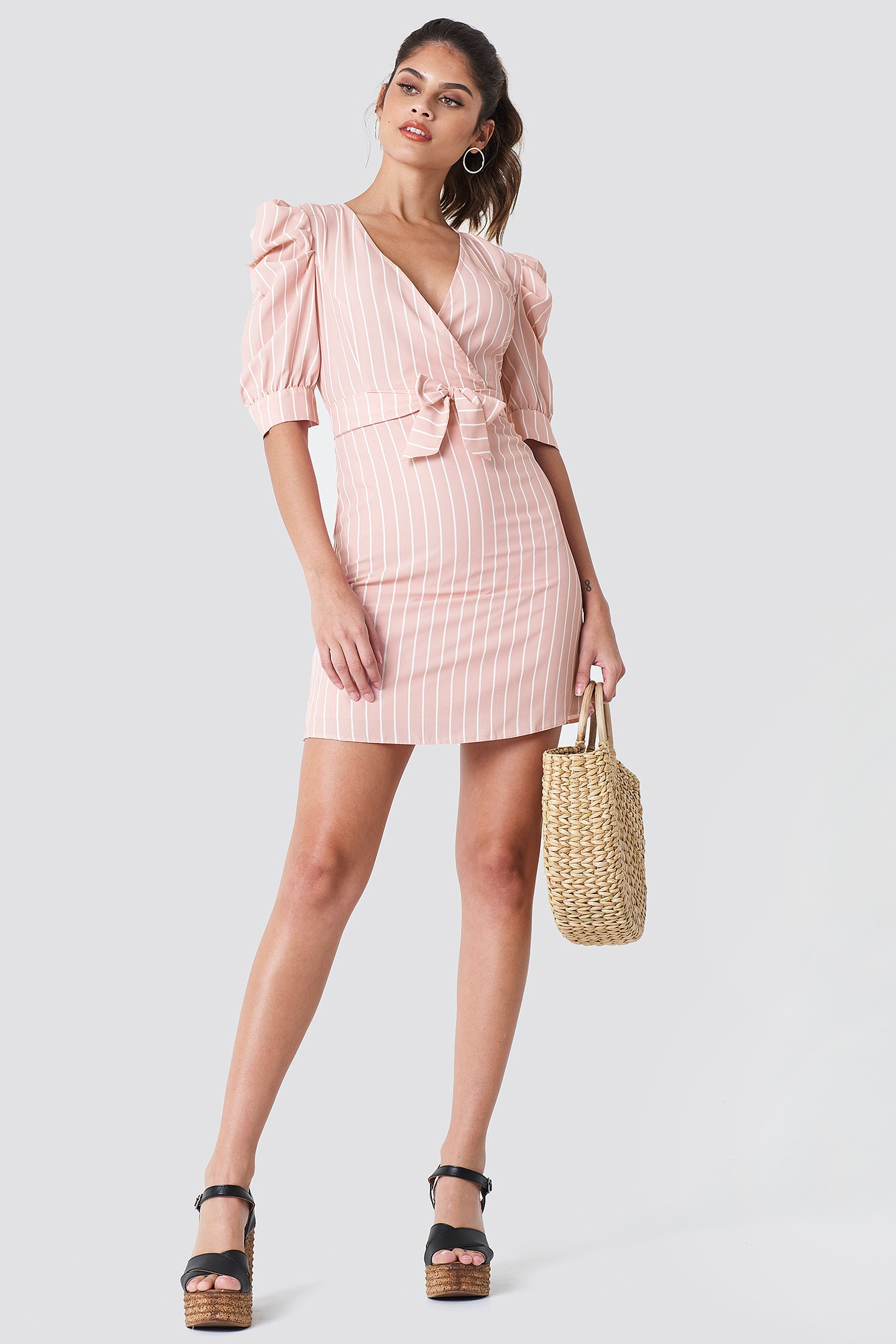Ballon Sleeve Midi Dress NA-KD.COM
