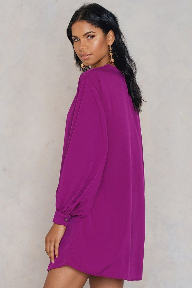 Balloon Sleeve Dress Purple