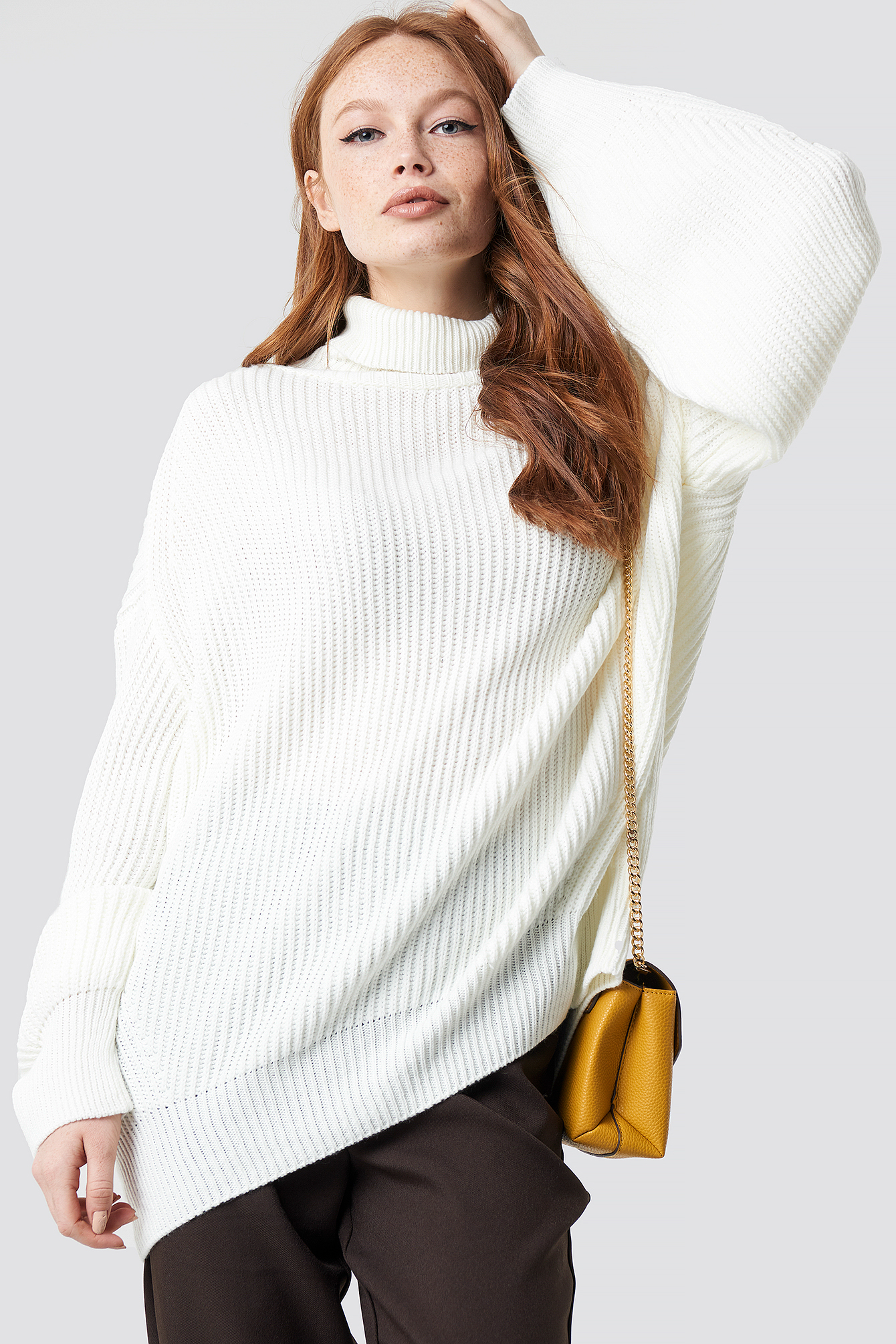 trendyol -  Balloon Sleeve Knitted Polo Jumper - White