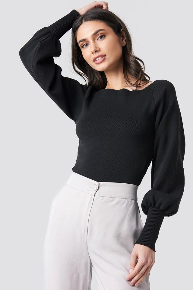 Balloon Sleeve Knitwear Pullover Black