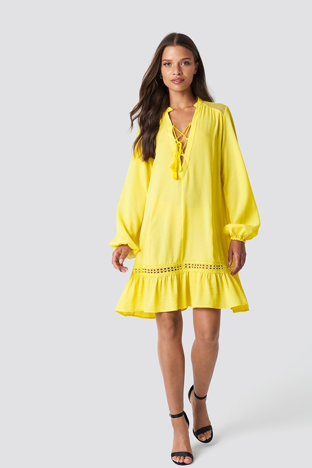Balloon Sleeve Mini Dress NA-KD.COM