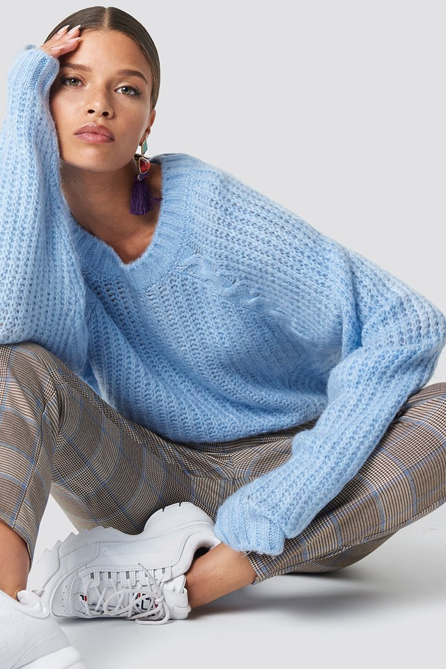 Balloon Sleeve Sweater Pullover Blue