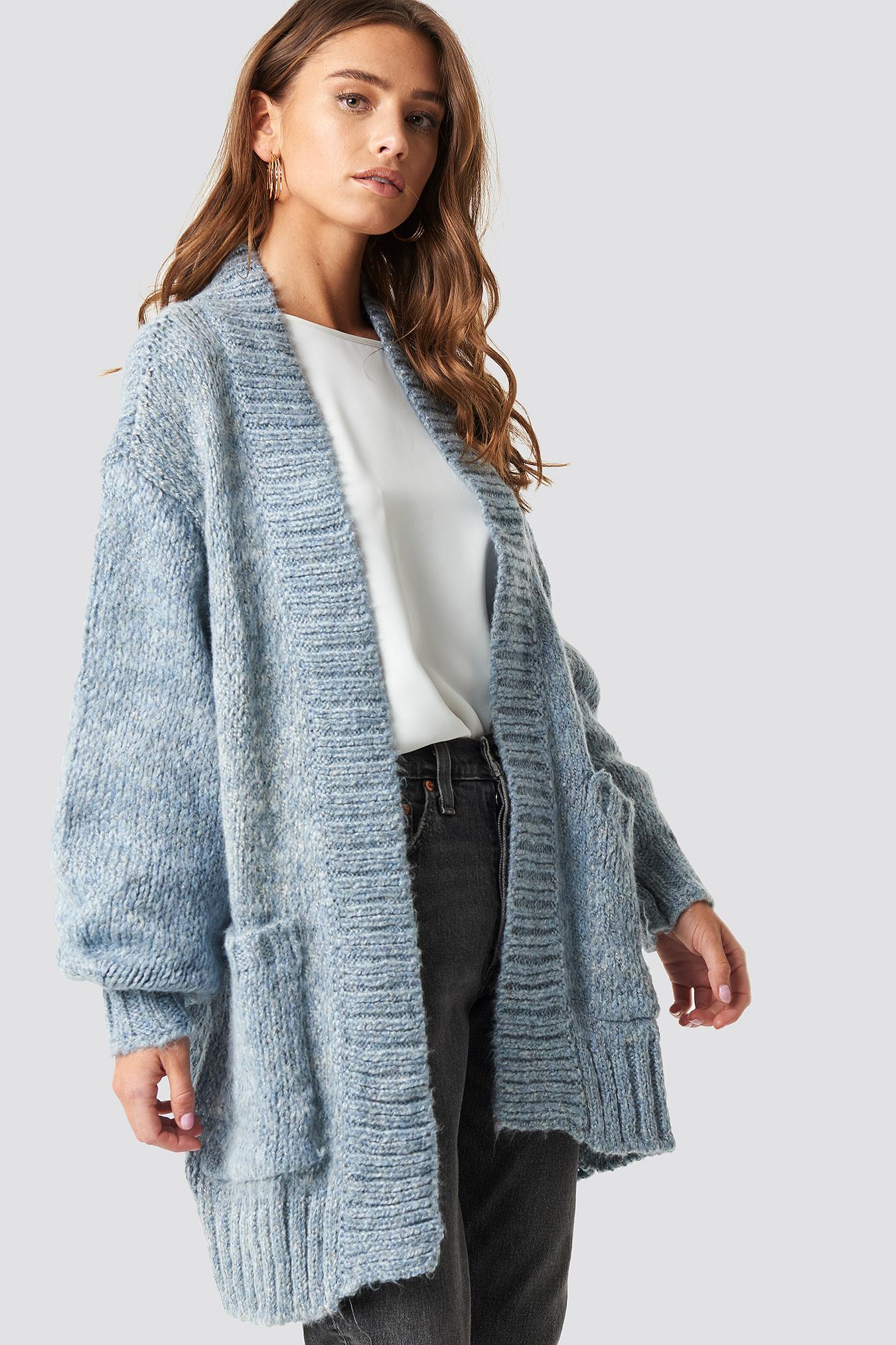 TRENDYOL Balloon Sleeve Sweater Cardigan - Blue