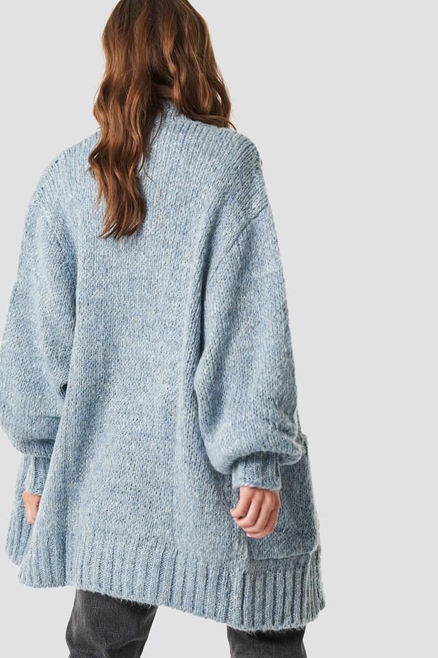 Balloon Sleeve Sweater Cardigan Blue