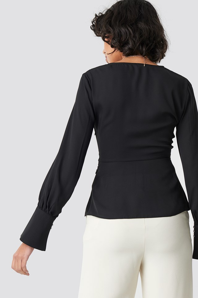 Band Detailed Blouse Black