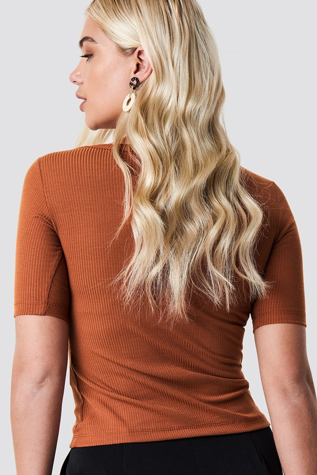 Basic Camisole Knitted Tee Camel