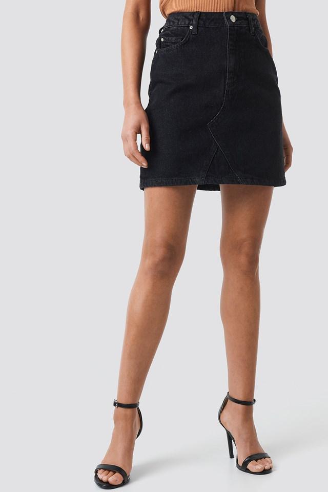 Milla Basic Denim Skirt Black