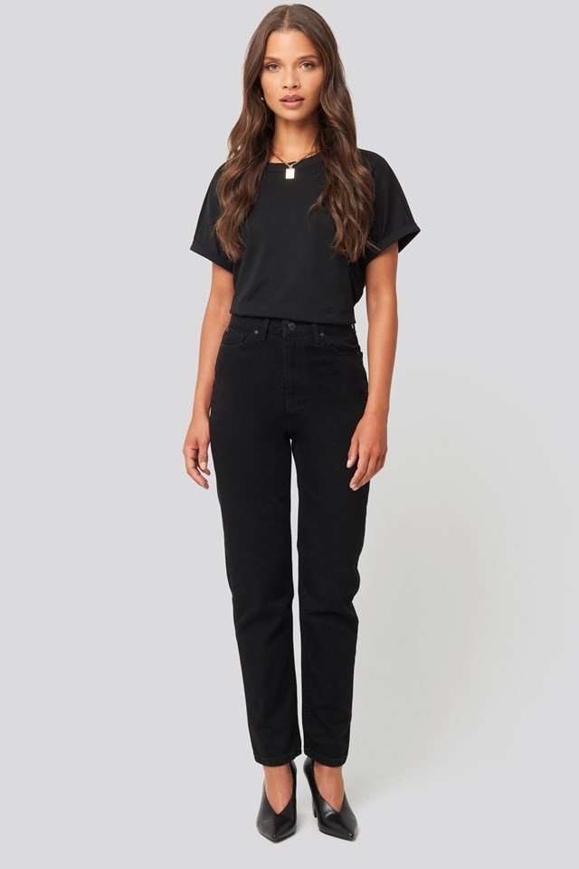 Basic High Waist Mom Jeans Black