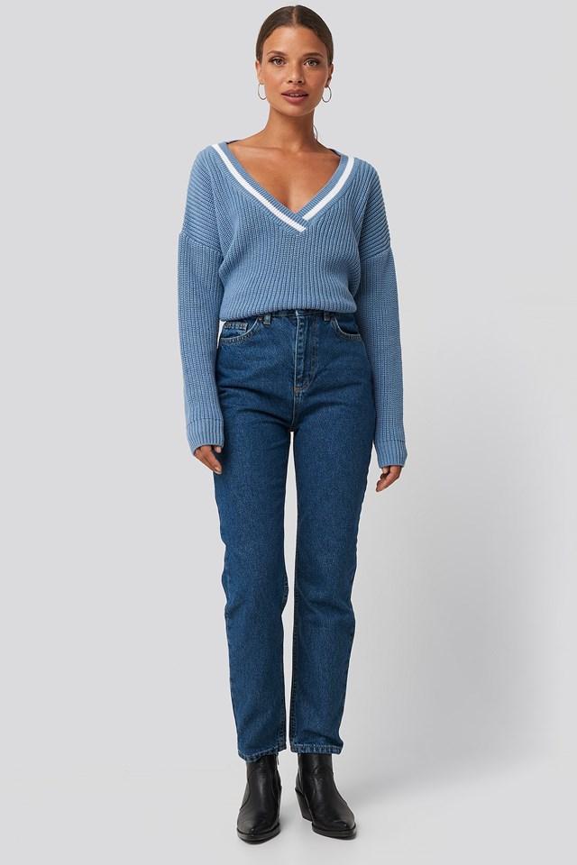 Basic High Waist Mom Jeans Blue