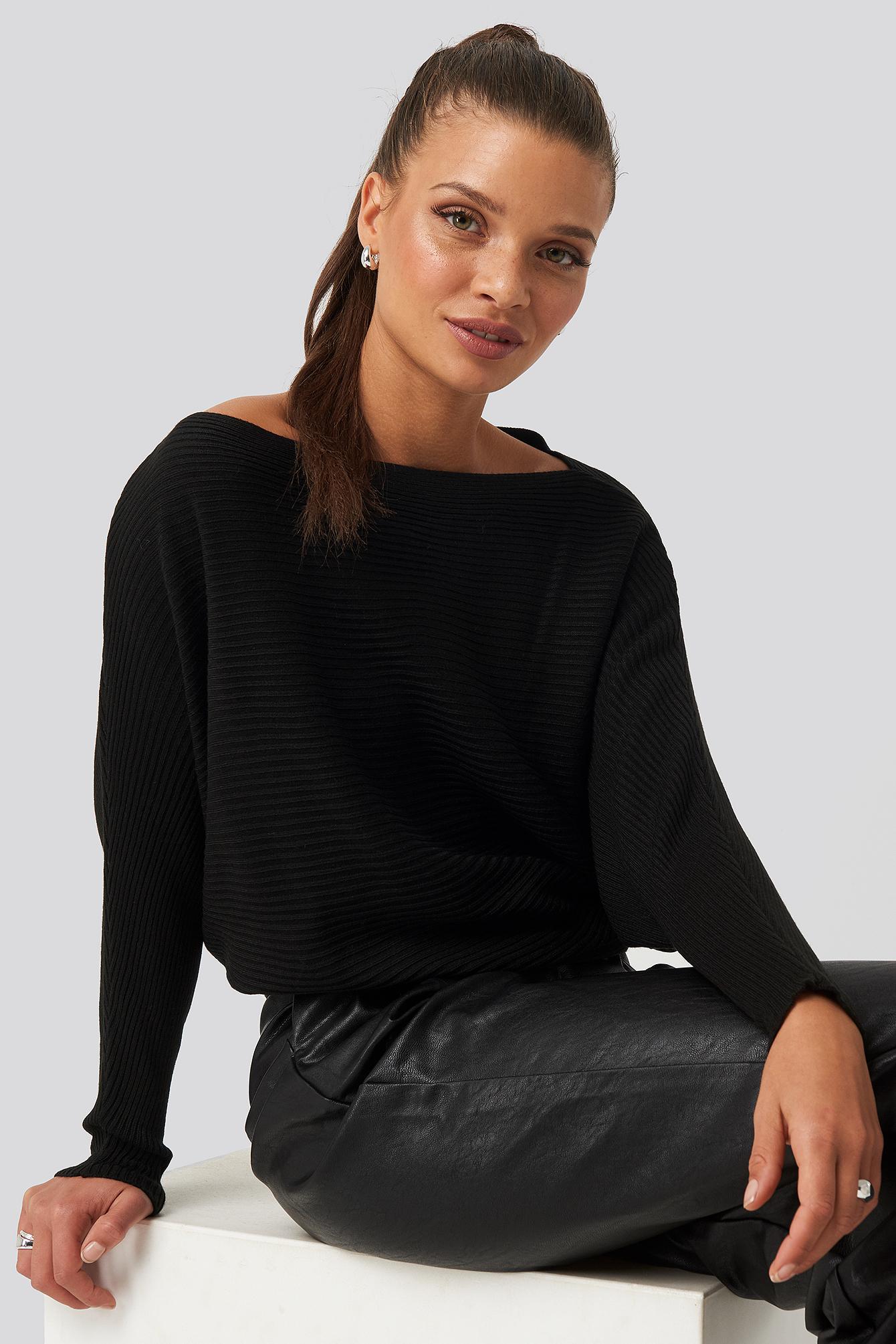 Bat Sleeve Sweater Noir by Trendyol