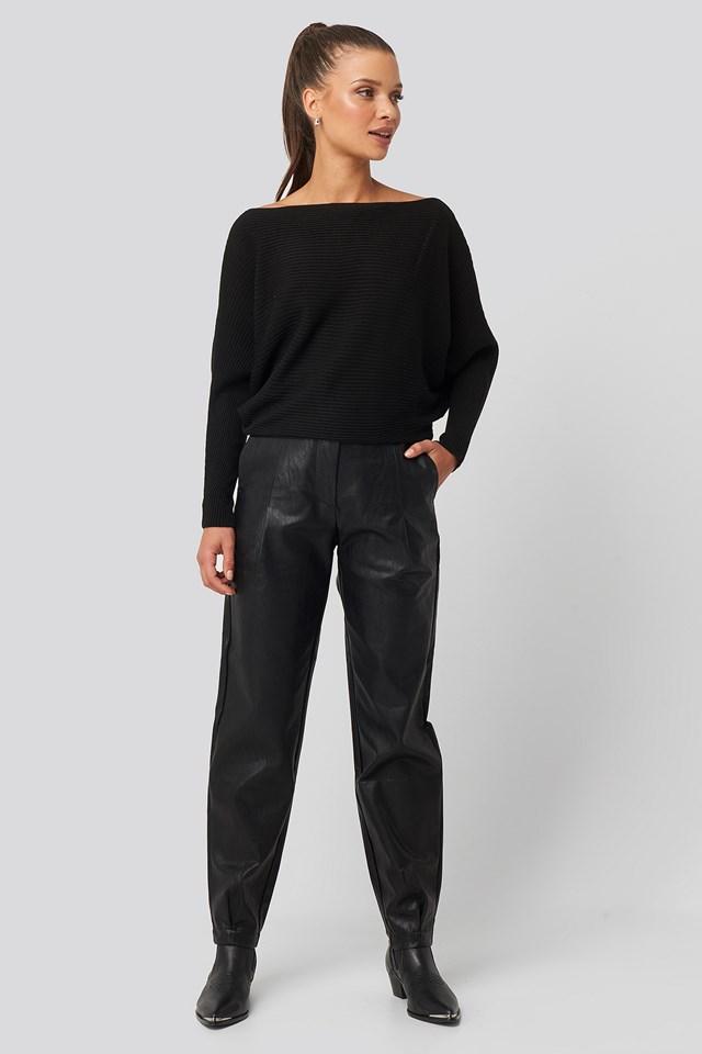 Bat Sleeve Sweater Black