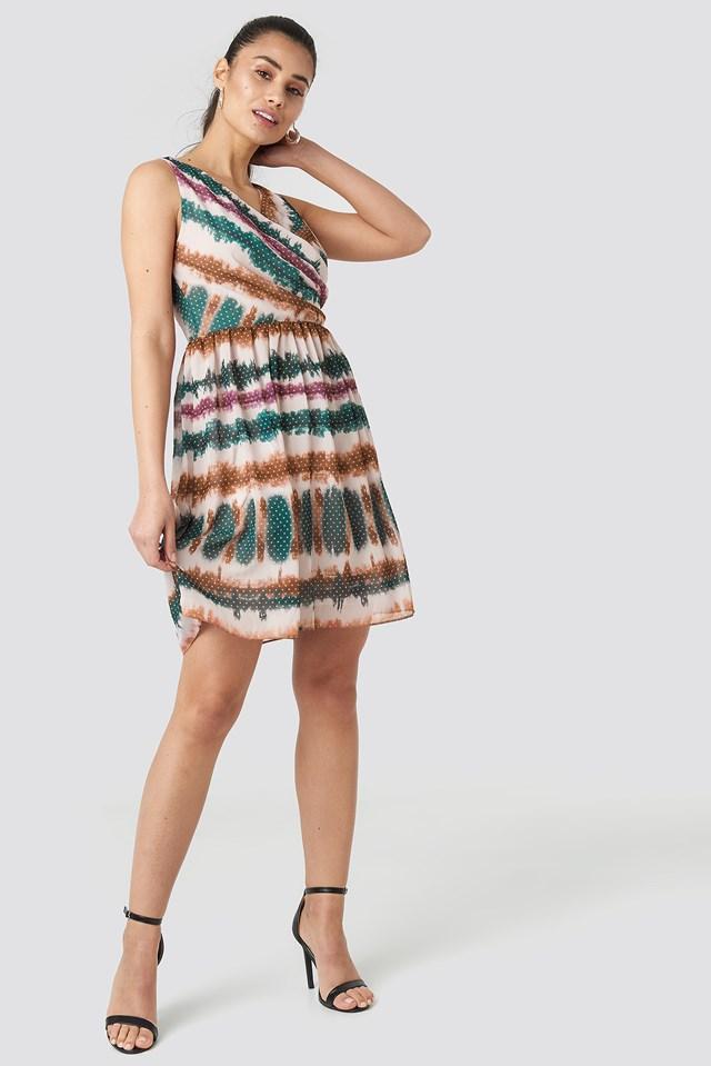 Batik Patterned Mini Dress Multicolor