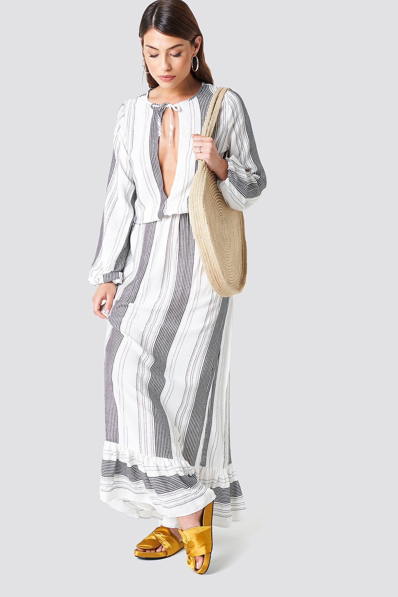 Beach Striped Maxi Dress NA-KD.COM