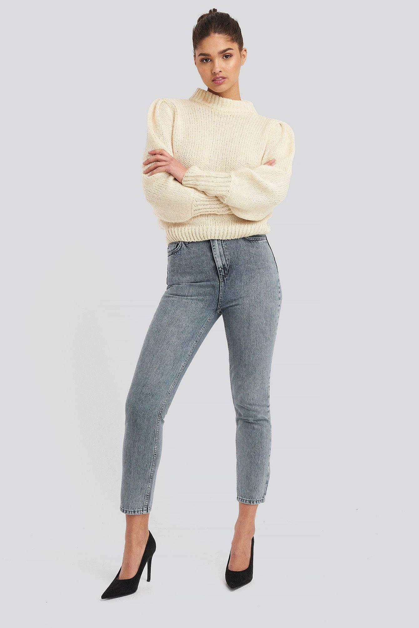 Trendyol Bel Mom Jeans - Grey,Blue