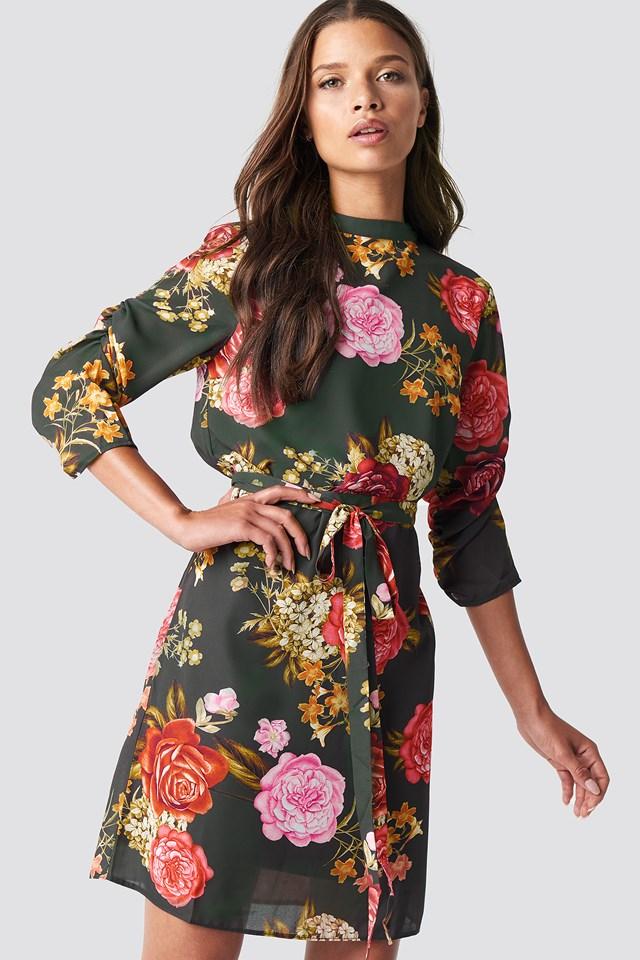 Belt Detail Midi Dress Khaki
