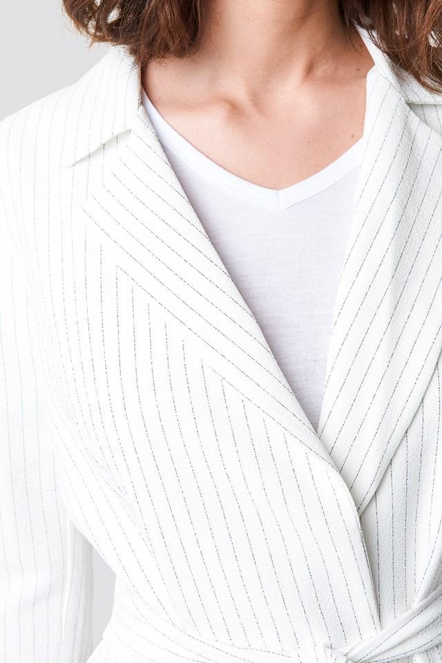 Belt Detailed Blazer White