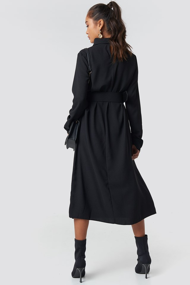 Belt Detailed Collar Midi Dress Black