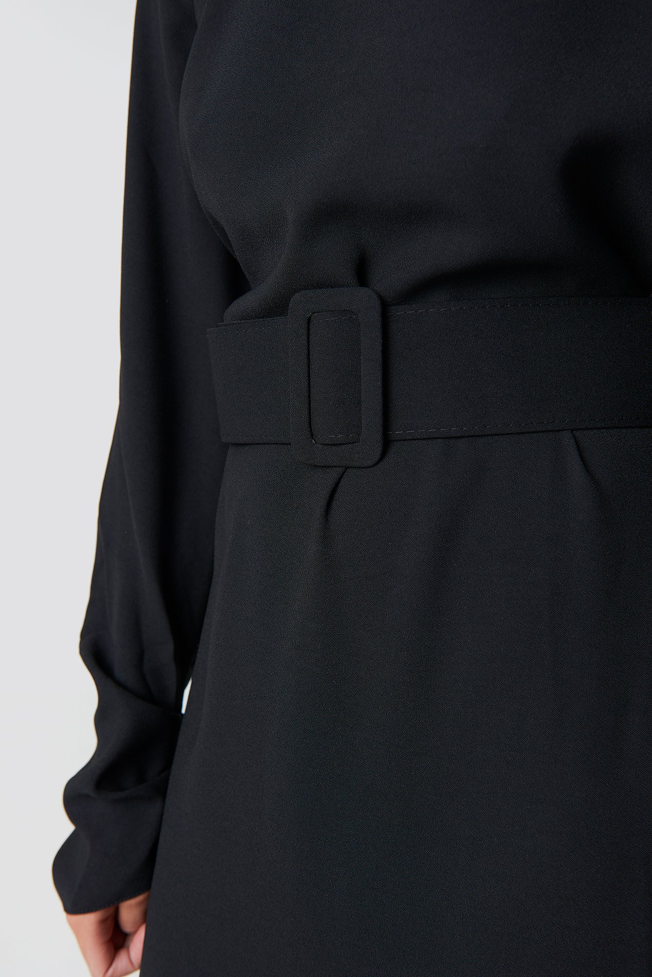 Belt Detailed Collar Midi Dress NA-KD.COM