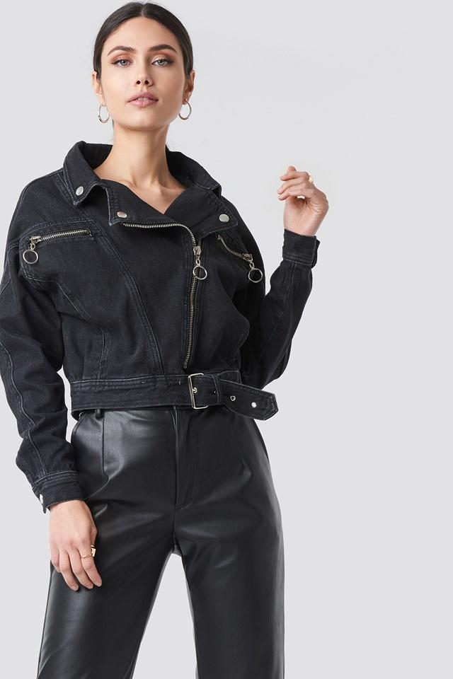 Belt Detailed Denim Jacket NA-KD.COM