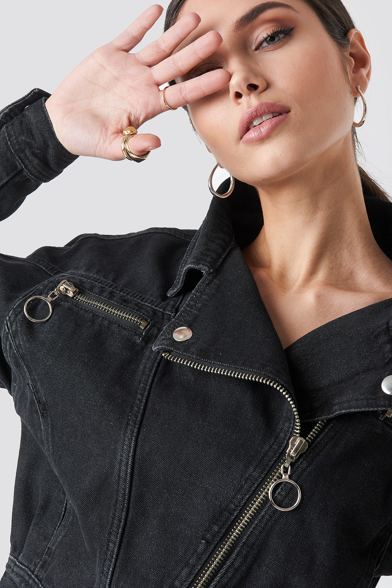 Belt Detailed Denim Jacket NA-KD.COM