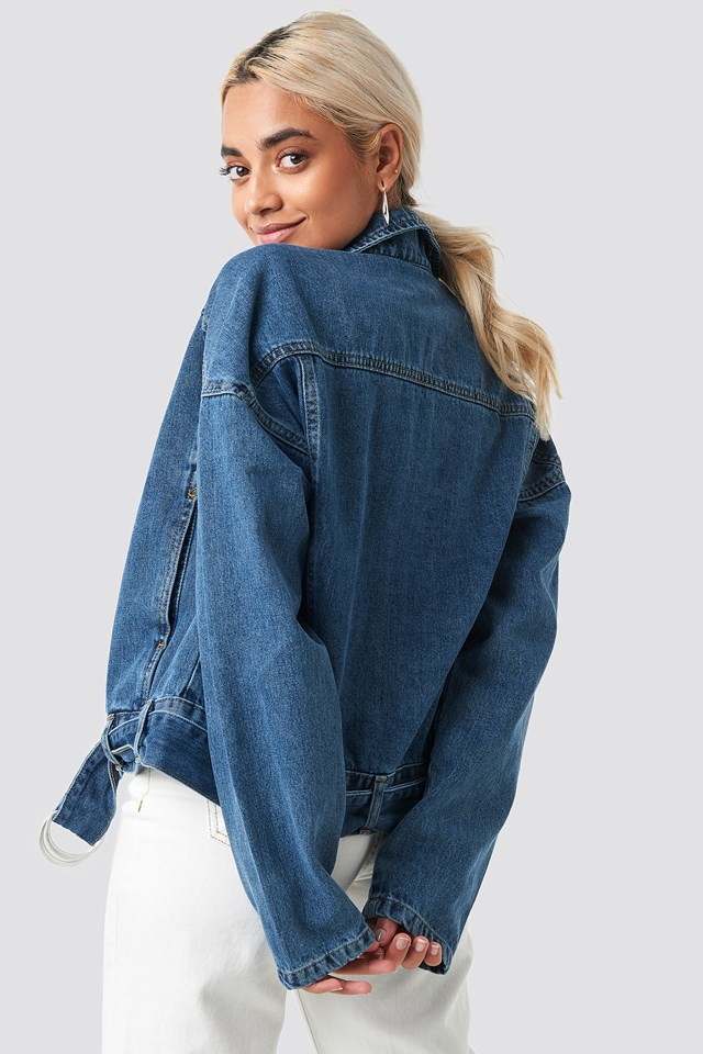 Belt Detailed Denim Jacket Blue