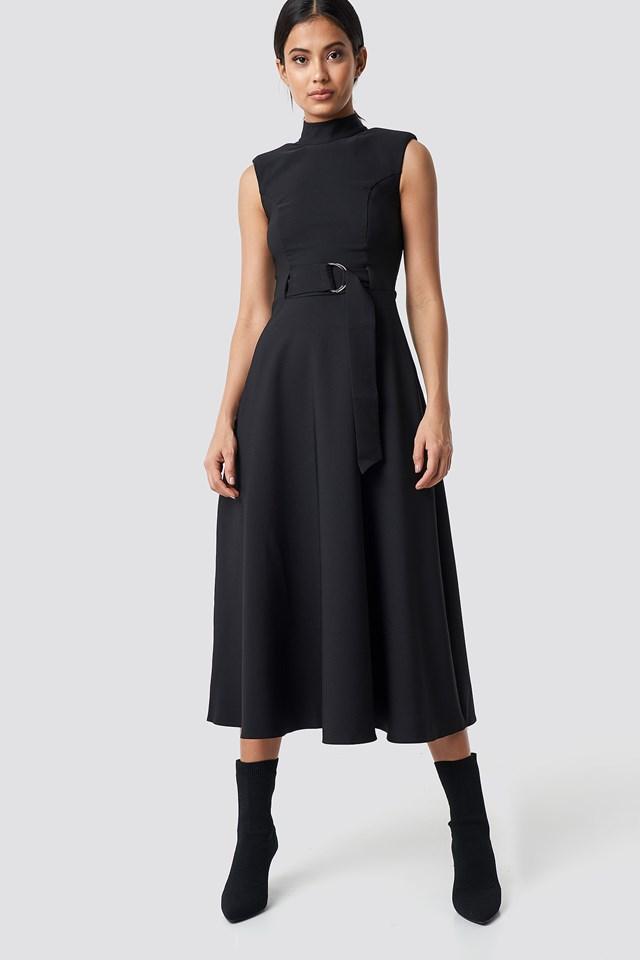 Belt Detailed Long Dress Black