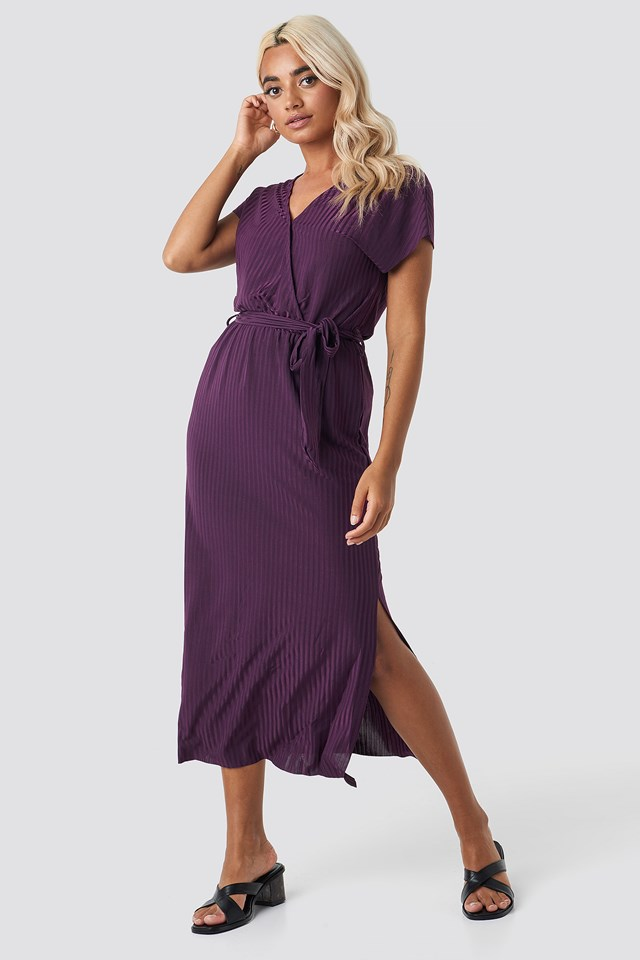 Belt Detailed Midi Dress Purple