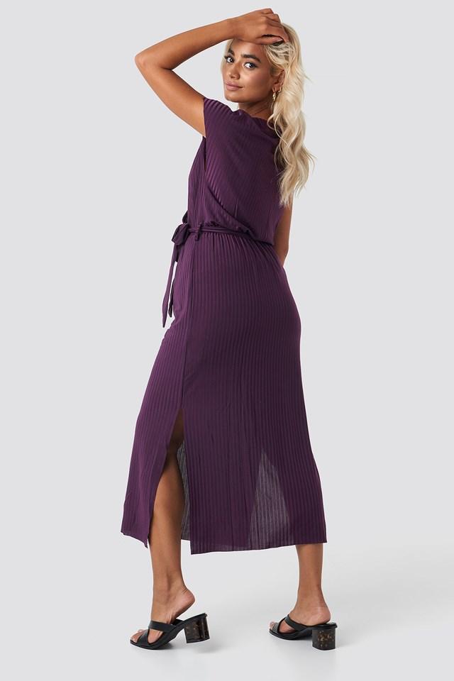 Belt Detailed Midi Dress Purple