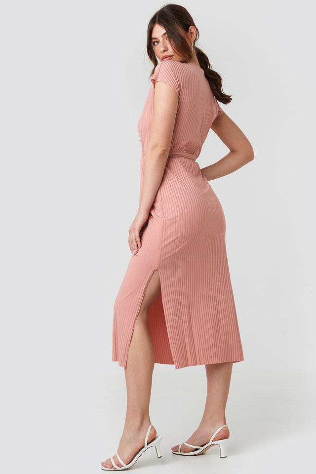 Belt Detailed Midi Dress Powder Pink