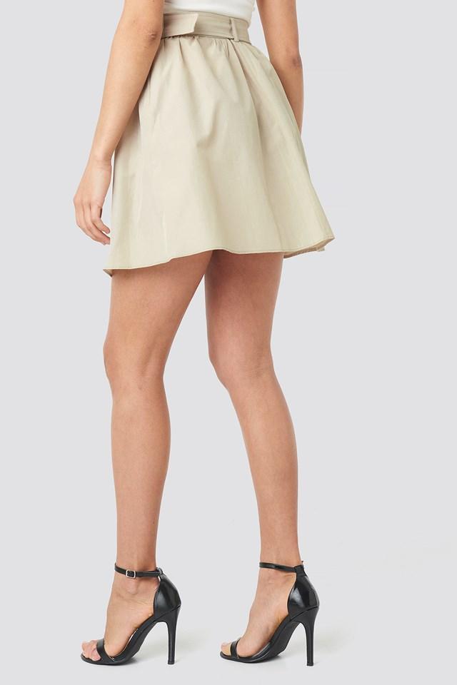 Belt Detailed Skirt Beige
