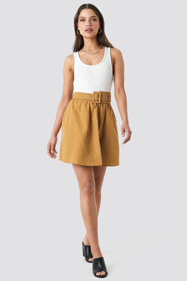 Belt Detailed Skirt Brown