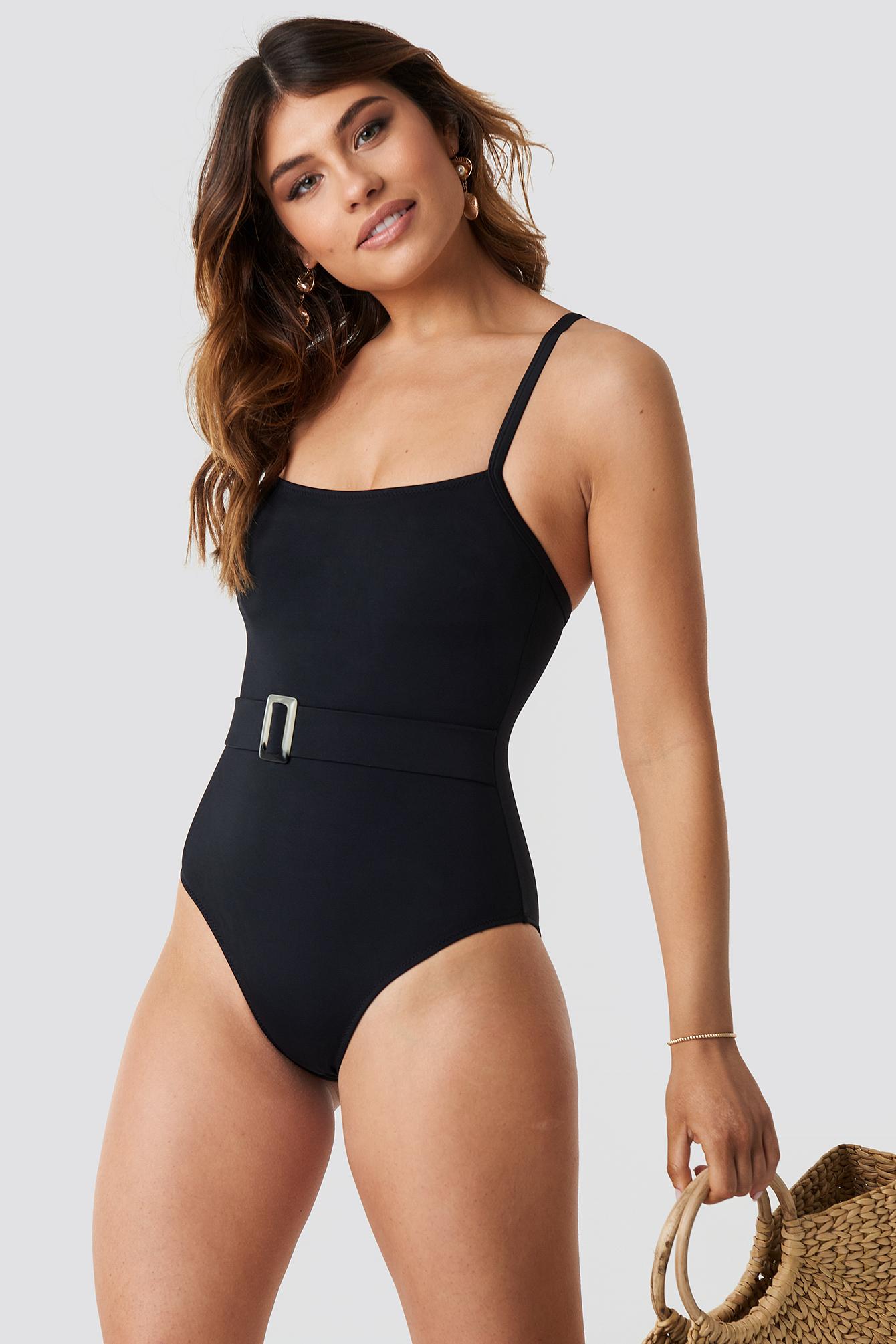 c35657275f6 Belt Detailed Swimsuit Black   na-kd.com