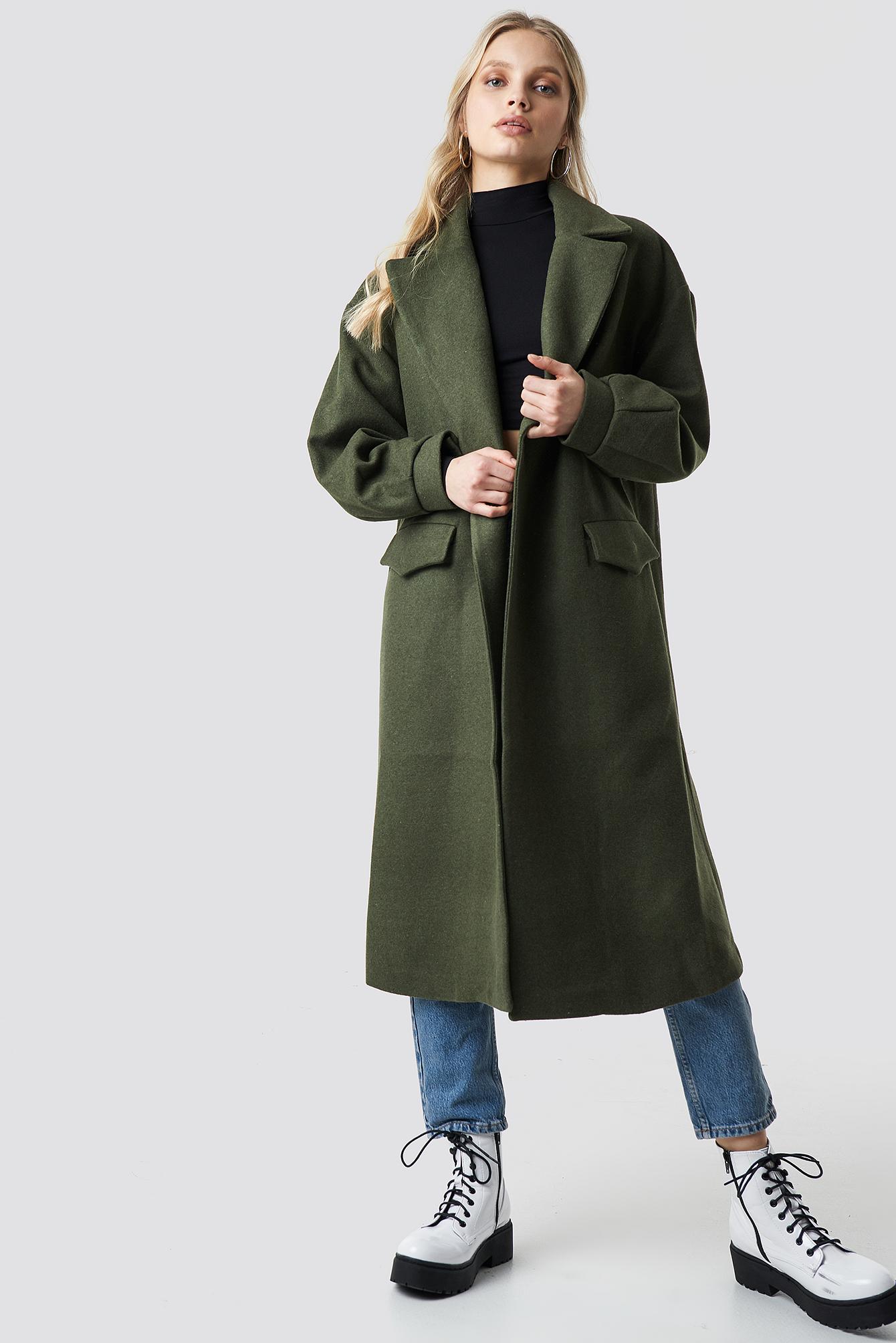 TRENDYOL Belt Eye Detailed Long Coat - Green