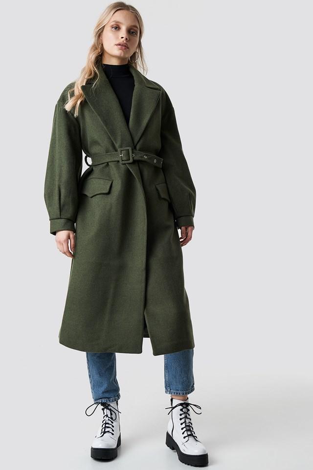 Belt Eye Detailed Long Coat NA-KD.COM
