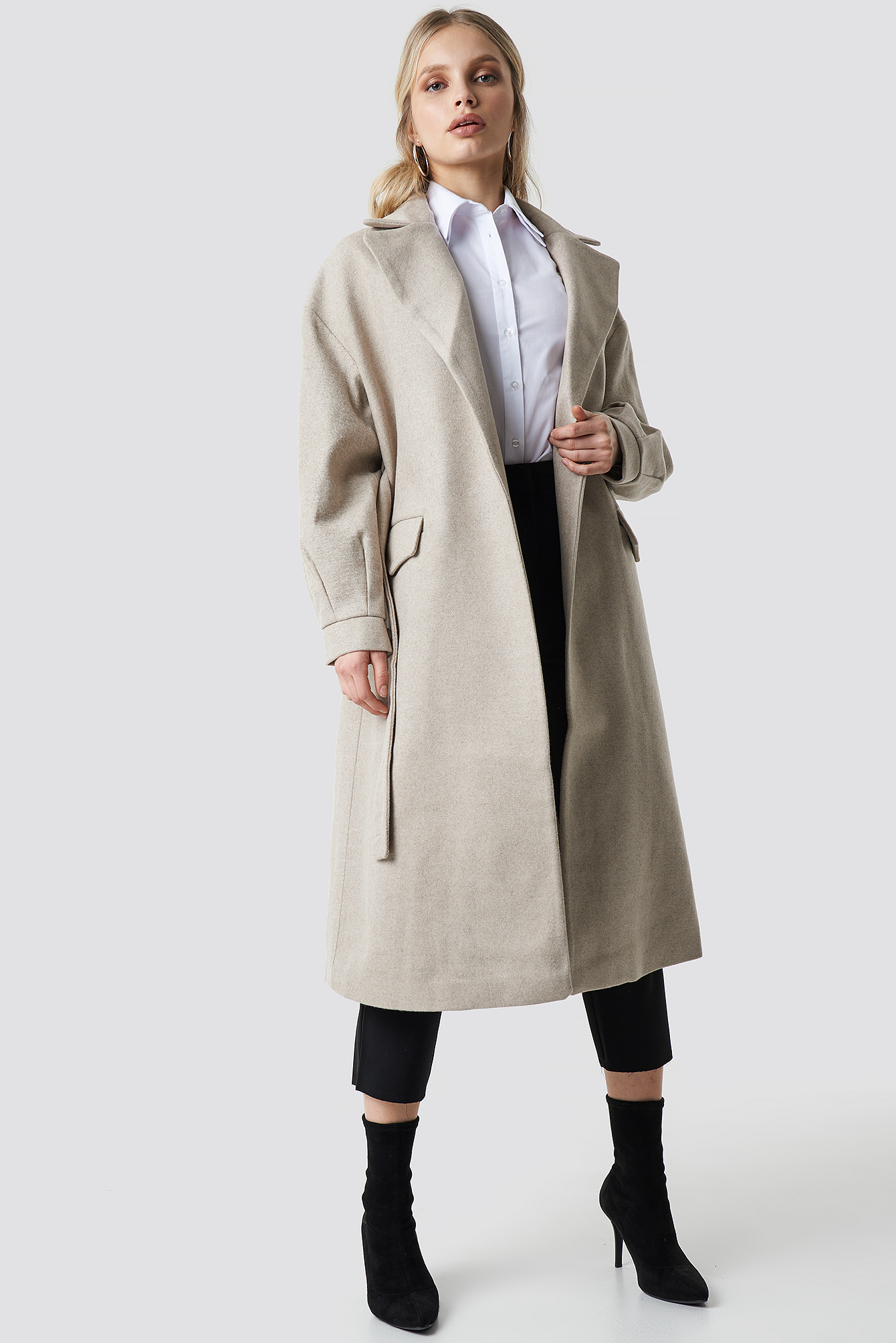 TRENDYOL Belt Eye Detailed Long Coat - Beige