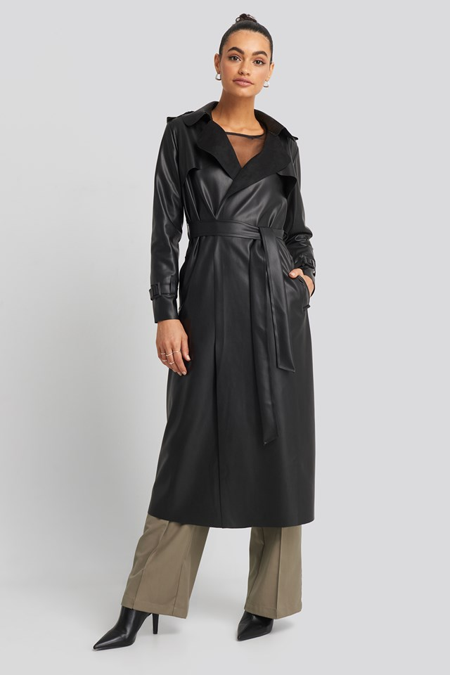 Long PU Coat Black