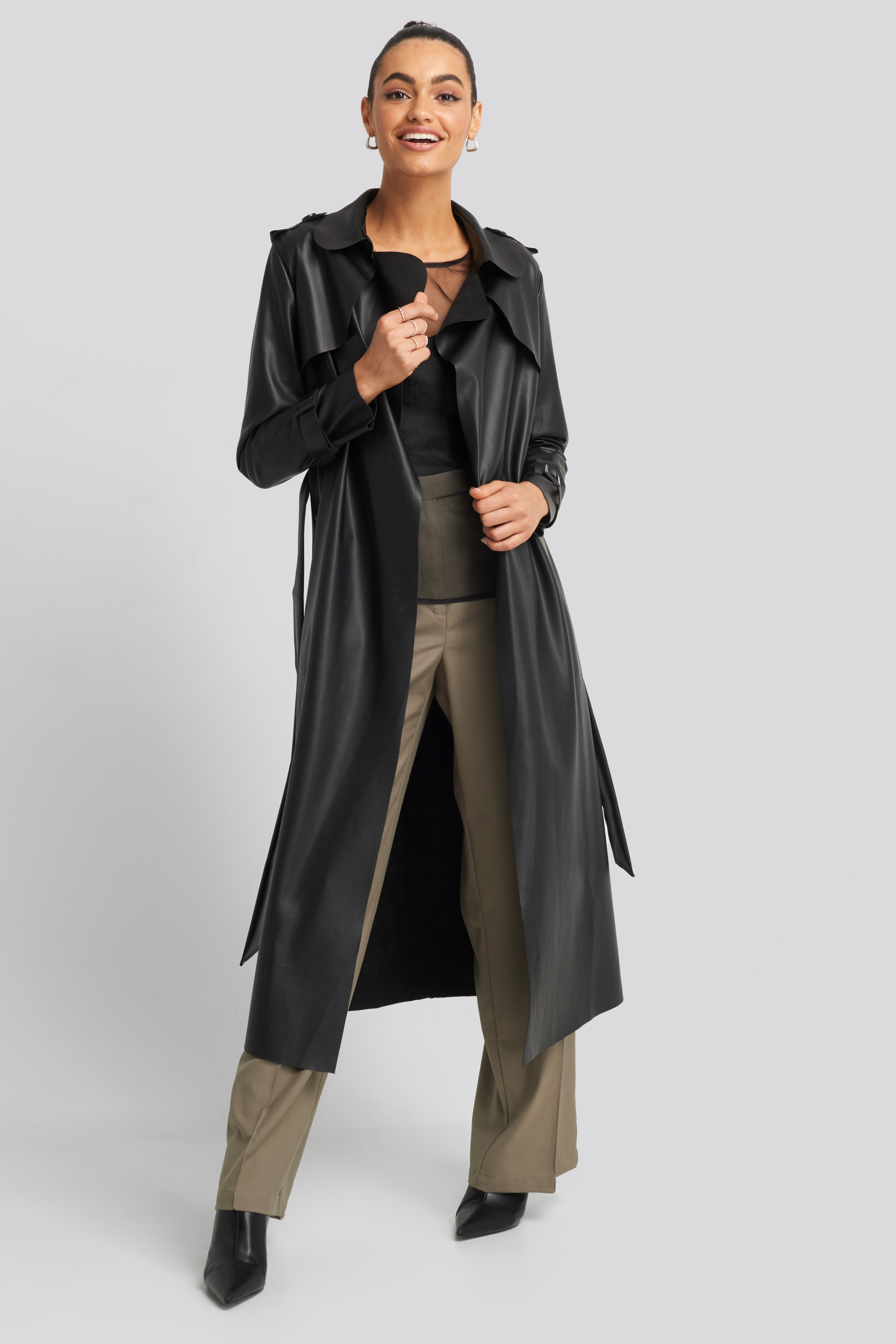 trendyol -  Long PU Coat - Black