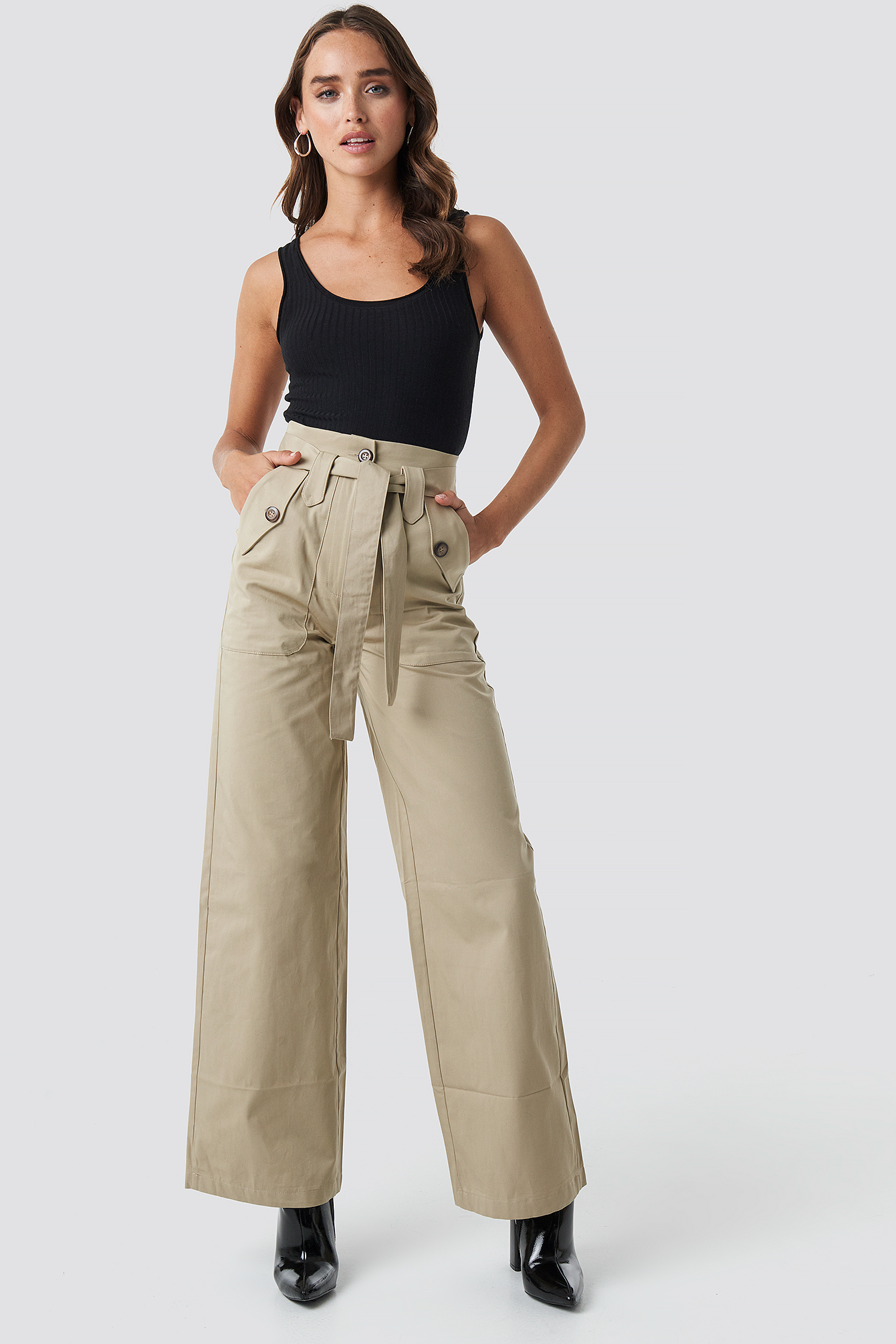 trendyol -  Belt Pocket Detailed Pants - Beige