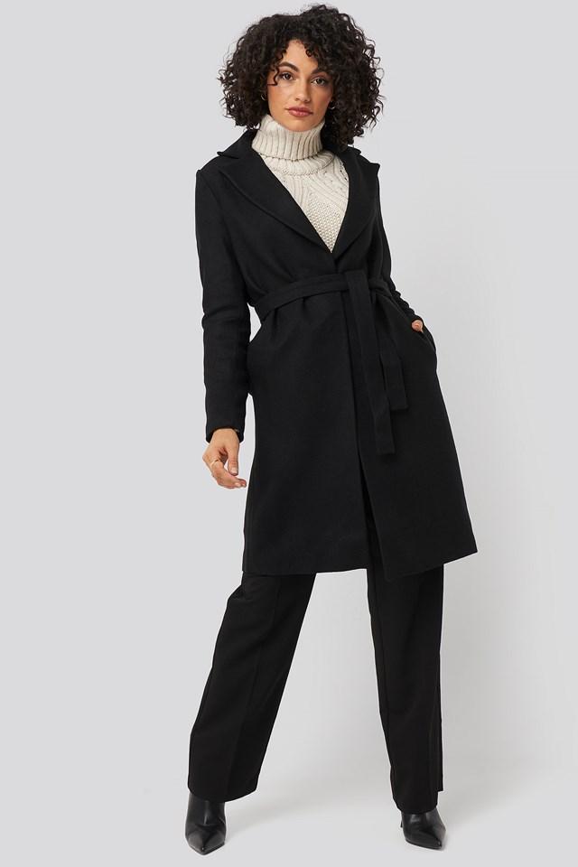 Belt Woolen Coat Black