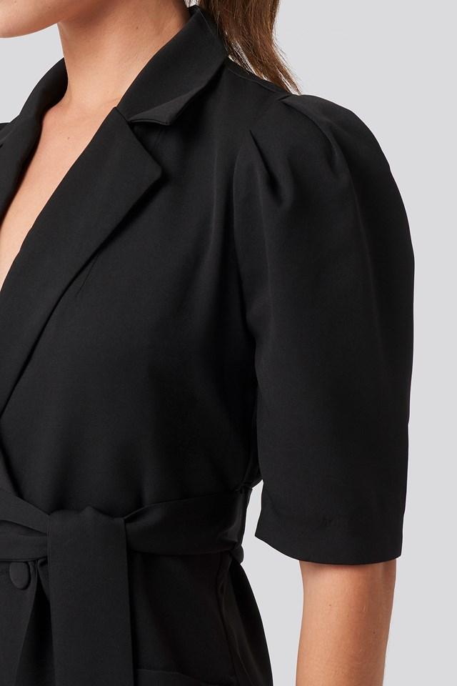 Belted Blazer Dress Black
