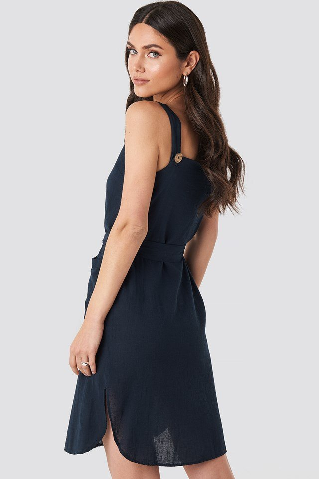 Belted Button Detailed Mini Dress Navy