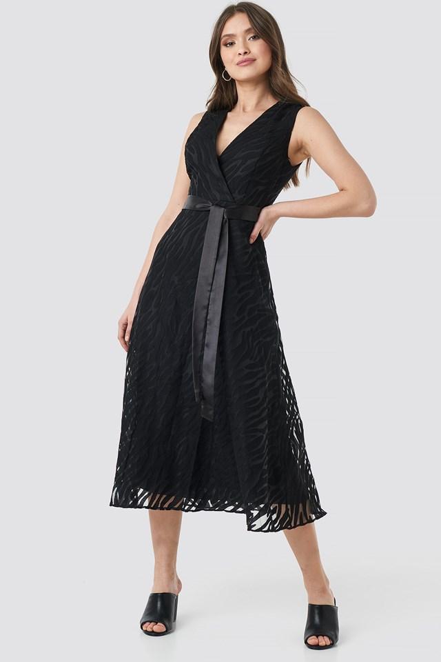 Belted Detailed Animal Midi Dress Black